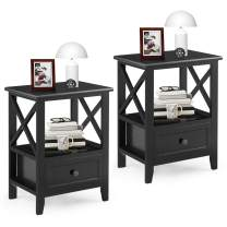 """Giantex Giantex Nightstand Set of 2 Small End Tables W/Storage Shelf and Wooden Drawer 16""""×12""""×20"""" for Living Room Bedroom Bedside Accent Home Furniture Mini Side Table(Black)"""