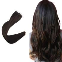 Easyouth 16inch Seamless Skin Weft Extensions Tape in Hair Color 2 Darkest Brown 80 Gram 2g per Piece Double Side Adhensive Glue in Hair Extensions Real Human Hair
