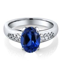 Gem Stone King 925 Sterling Silver Blue Simulated Sapphire Women's Solitaire Ring (1.03 Ct Oval, Available 5,6,7,8,9)