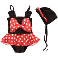 Jastore 3pcs Baby Girls Swimwear Cute Polka Dots Bikini Set Swimsuit