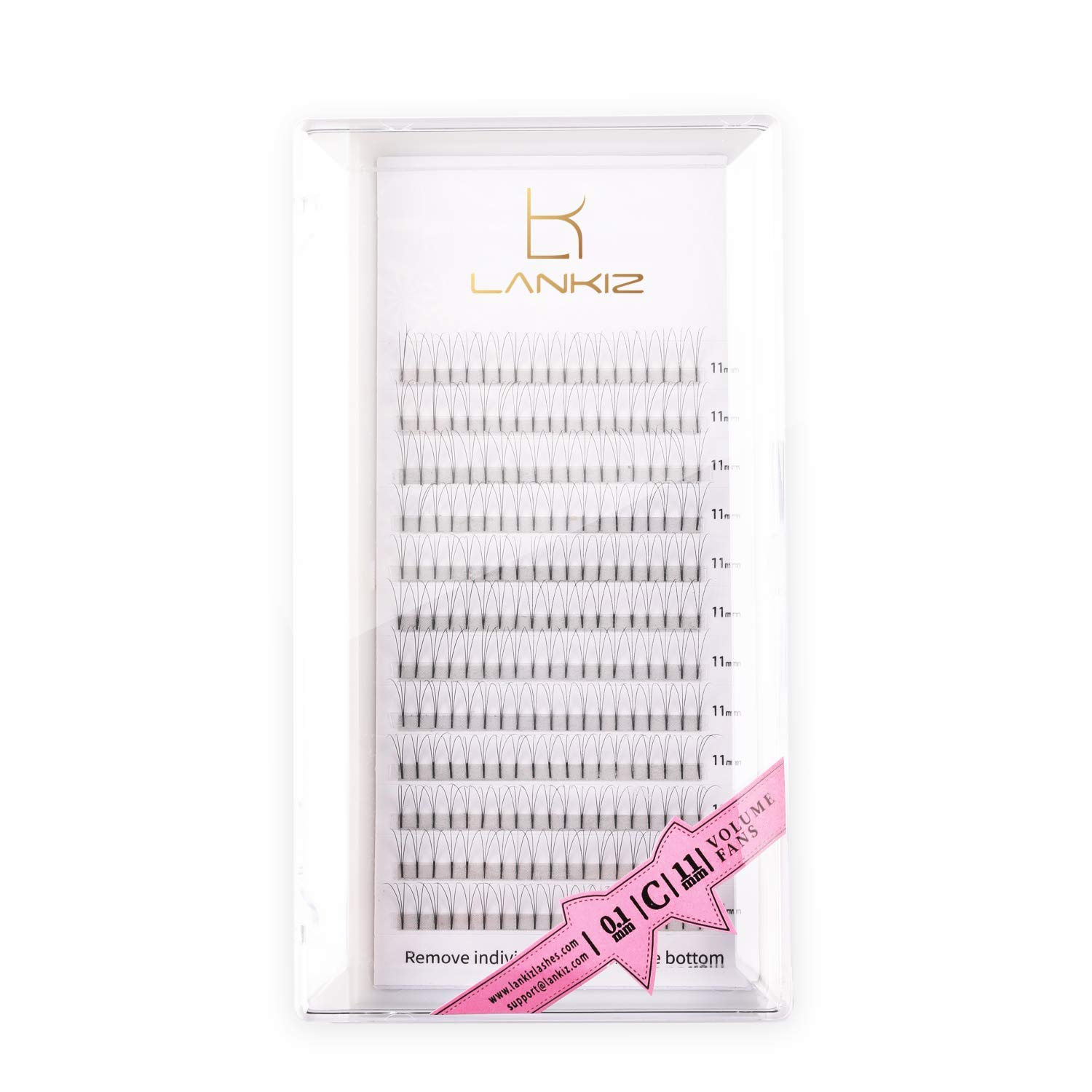 LANKIZ Premade Fans Eyelash Extensions 3D 0.1mm D Curl 16mm Russian Volume Lash Extensions Individual Volume Lashes 8-16mm Pre Made Lash Fans