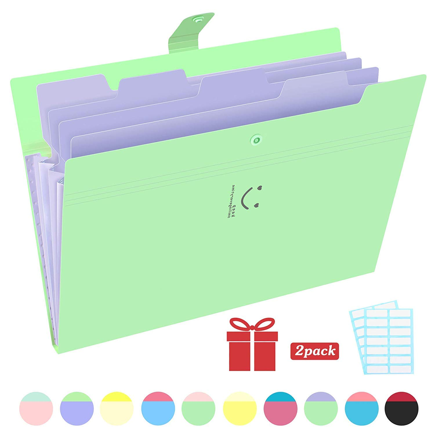 Phyxin Expanding File Folders 5 Pockets Document Organizer A4 Letter Size Plastic File Folder with Lables Document Holder for Business School Supplies Green