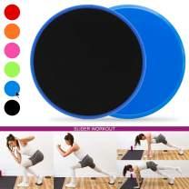 KLOLKUTTA Exercise Core Sliders, 2 Dual Sided Gliding Discs Strength Fitness Sliders Work Smoothly for Carpet and Hard Floors