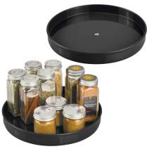 """mDesign Plastic Lazy Susan Turntable Food Storage Container for Cabinets, Pantry, Refrigerator, Countertops - Spinning Organizer for Spices, Condiments, Baking Supplies - 9"""" Round, 2 Pack - Black"""