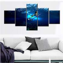 Surfing Sports Paintings for Living Room 5 Panel Canvas Sexy Girl Surfer Wall Art Undersea Surfing Pictures Blue Artwork Modern House Decor Framed Ready to Hang Posters and Print Gift(50''Wx24''H)