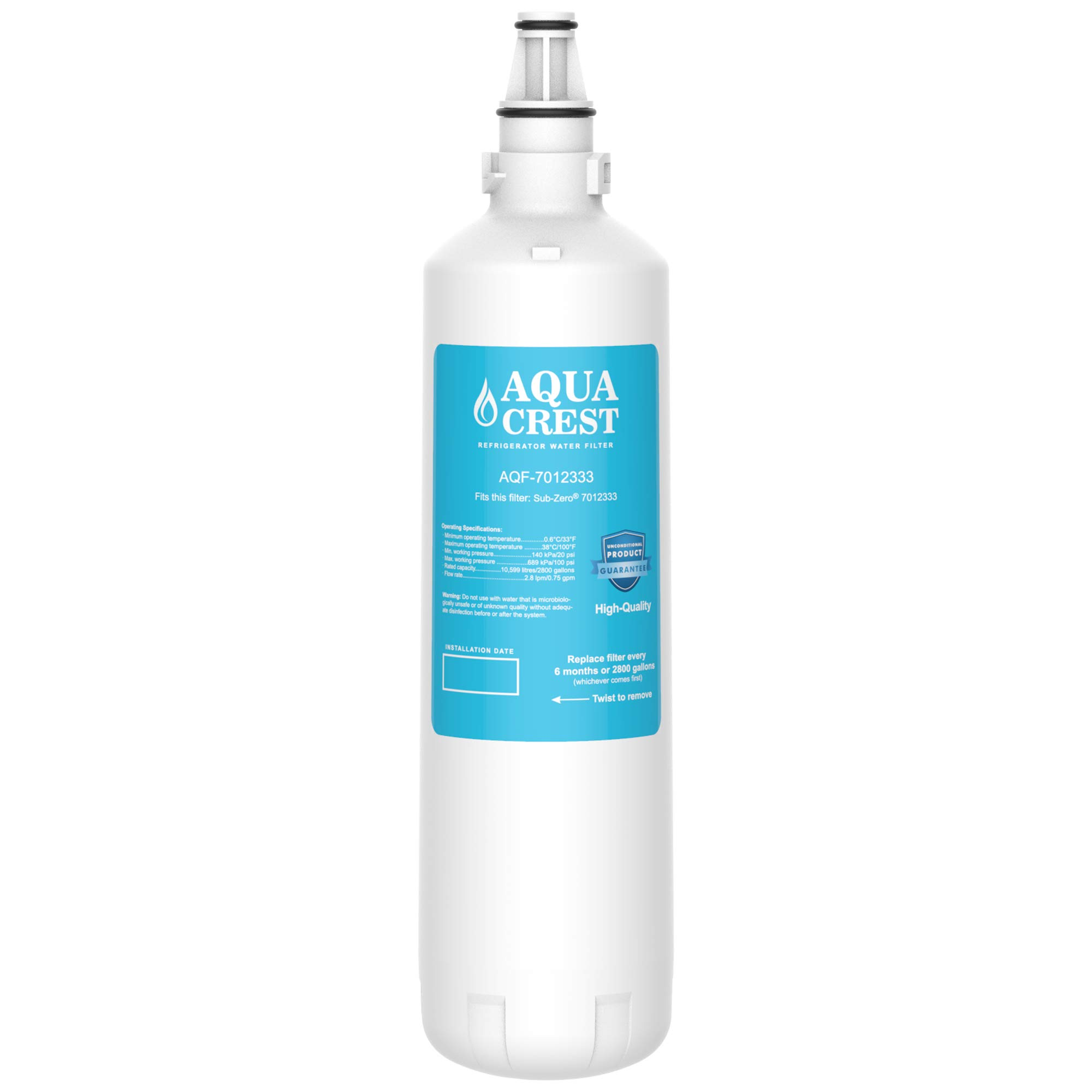 AQUA CREST Replacement 7012333 Refrigerator Ice Maker Water Filter, Compatible with Sub-Zero 7012333 UC-15, Manitowoc K00374