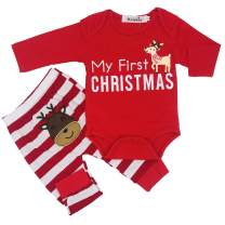 MOLYHUA Baby Christmas Pajamas, Baby Girls Boys My First Christmas Rompers with Pants Set