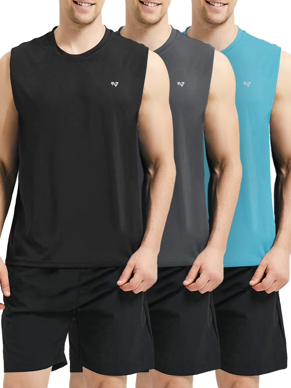 Roadbox Men's 3 Pack Performance Sleeveless Workout Muscle Bodybuilding Tank Tops Shirts