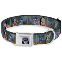 "Buckle-Down Dog Collar Seatbelt Buckle Lilo Stitch 5 Scene Blocks, Multicolor, 1.5"" Wide - Fits 18-32"" Neck - Large (DC-WDY301-WL)"