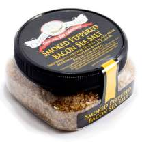 Smoked Peppered Bacon Sea Salt - All-Natural, Slowly-Smoked Sea Salt with Bacon & Peppercorns - Cooking, Seasoning & BBQ Grilling Flavor - 4 oz. Stackable Jar
