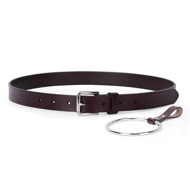 Women Skinny Leather Belt- WERFORU Fashion Dress Jeans Belt with Single Prong Buckle