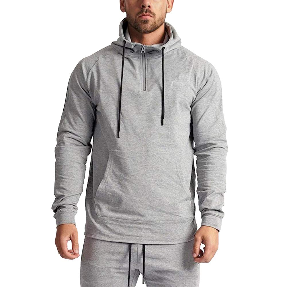 Uni Clau Men Casual Workout Athletic Hoodies Gym Long Sleeve Hooded Active Fleece Pullover Sweatshirt