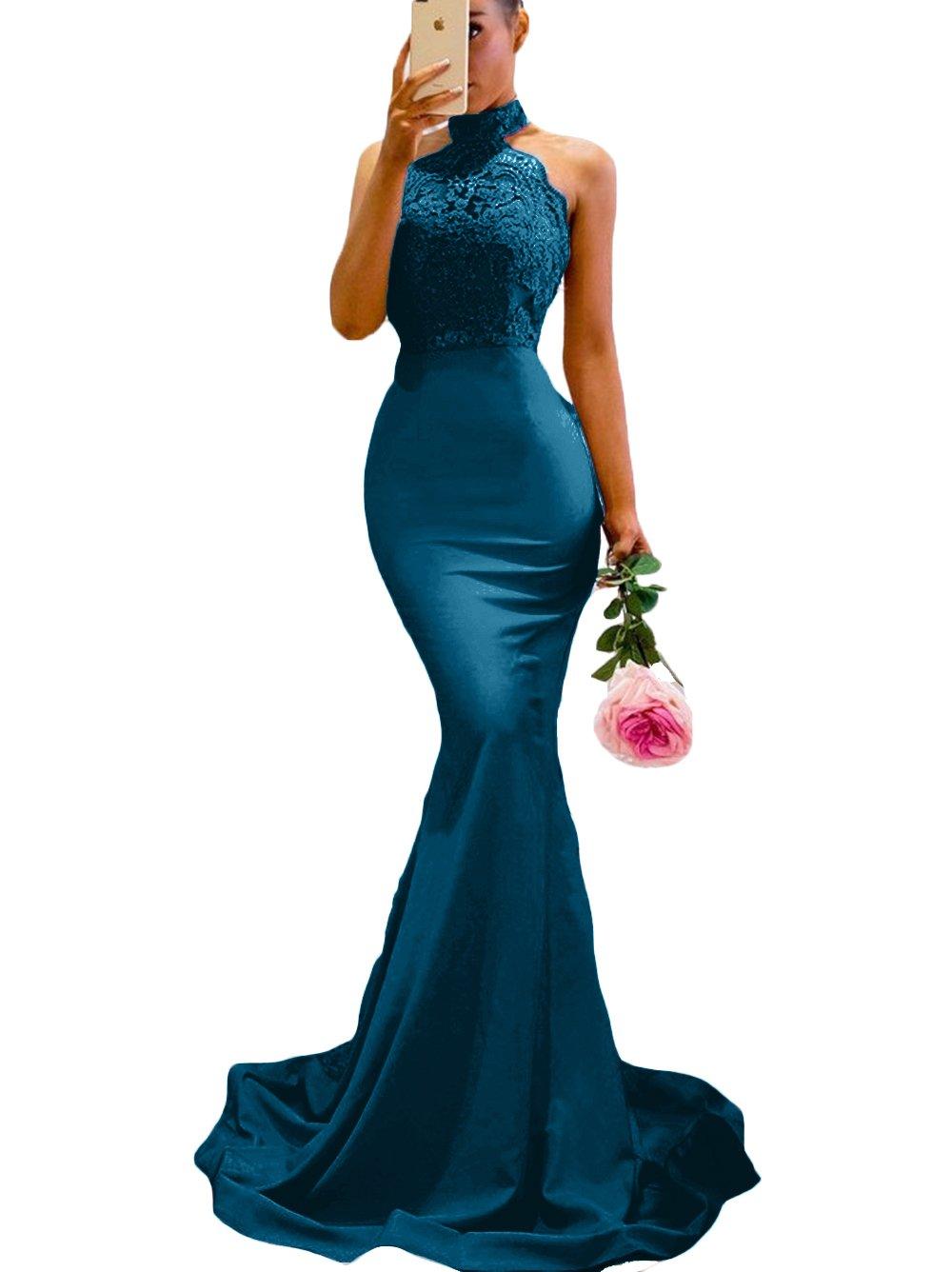 SDRESS Women's Lace Appliques Illusion Long Mermaid Skirt Bridesmaid Prom Dress Teal Blue Size 2