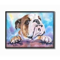 Stupell Industries English Bulldog Dog Pet Animal Watercolor Painting Black Framed Wall Art, 24 x 30, Design by Artist George Dyachenko
