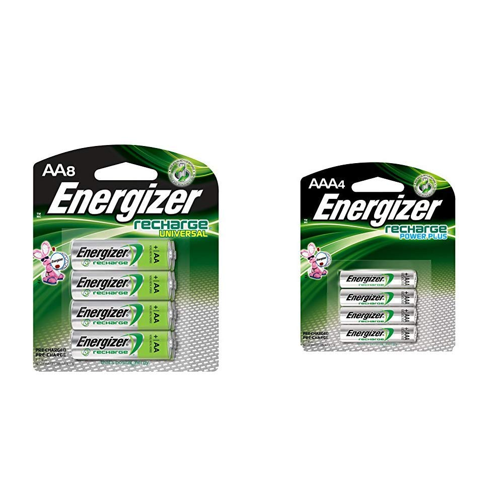 Energizer Rechargeable AA Batteries, NiMH, 2000 mAh, Pre-Charged, 8 count (Recharge Universal) & Rechargeable AAA Batteries, NiMH, 800 mAh, Pre-Charged, 4 count (Recharge Power Plus) - EVENH12BP4