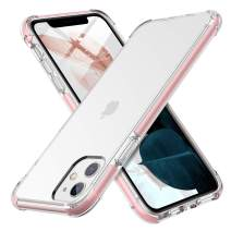 MILPROX iPhone 11 Case, Crystal Clear Thin Slim Shell Anti-Yellow Anti-Slippery Shockproof Protective Bumper Cover Case for iPhone 11 6.1 Inch (2019)-Pink