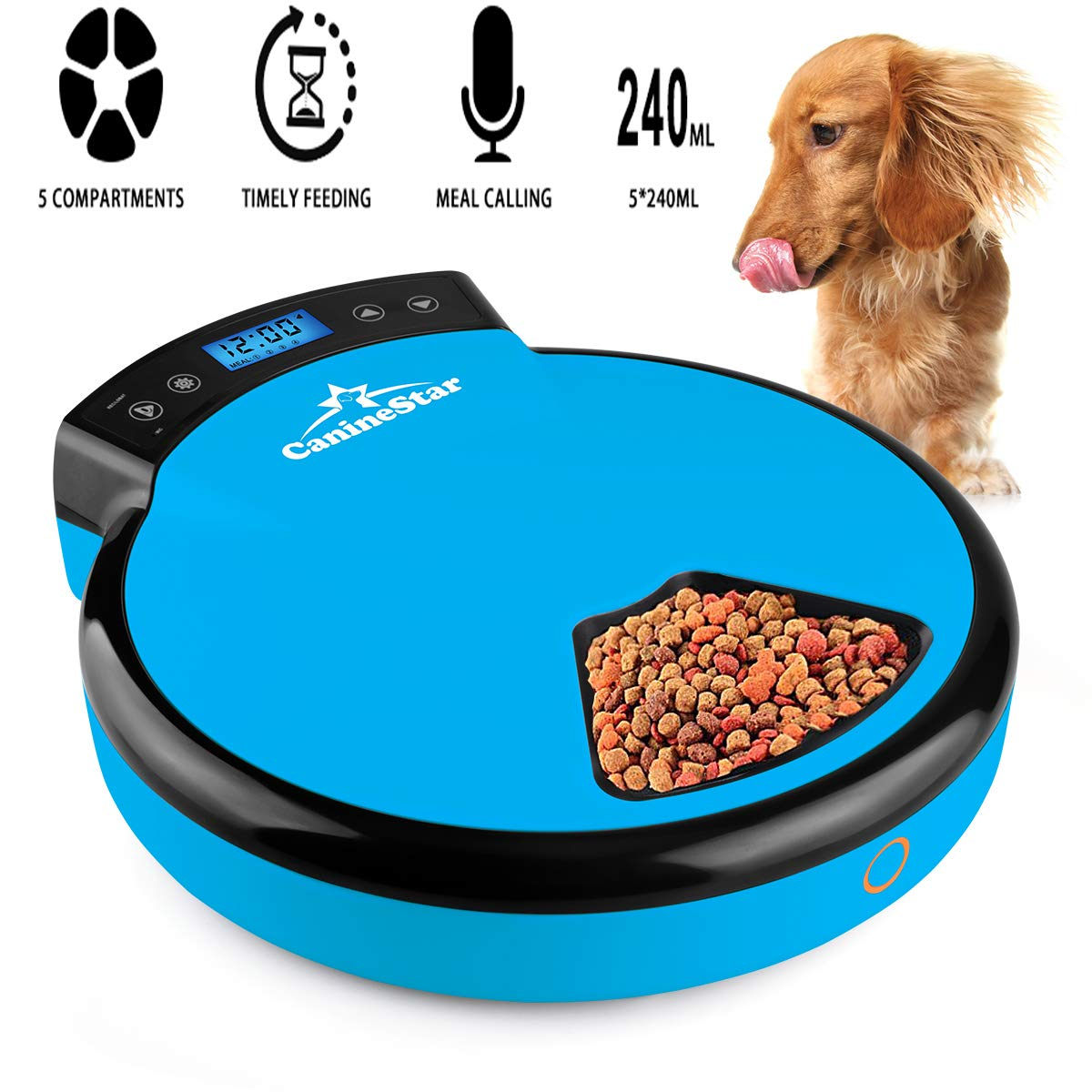 Automatic Pet Feeder for Cats Dogs, 5 Meal Food Dispenser Trays Cat Feeder Dry Wet Food Auto Feeder by CanineStar