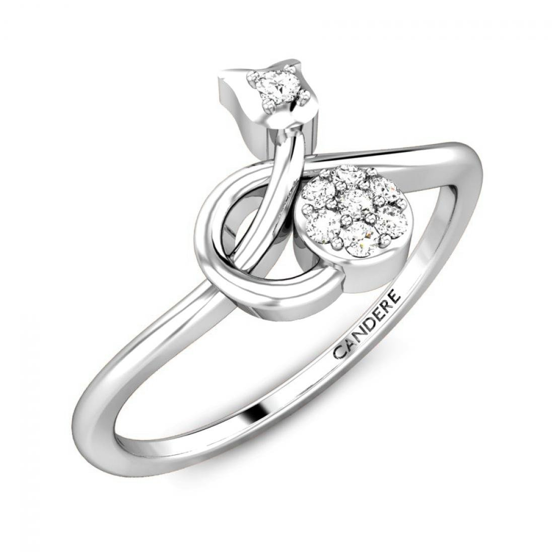 Candere Forever Love Collection 0.06 ctw Round-Cut Diamond Promise Ring for Women in 14K Solid Gold (IGI Certified)