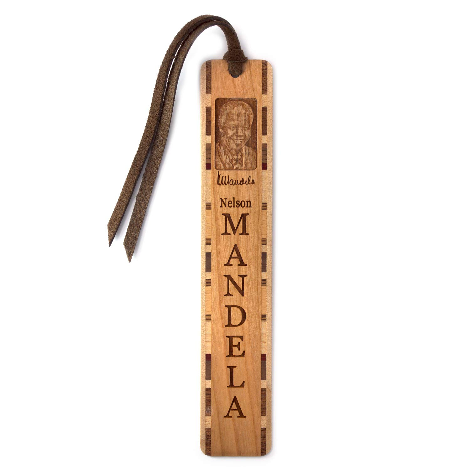 Nelson Mandela Portrait with Name and Signature - Engraved Handmade Wooden Bookmark with Suede Tassel