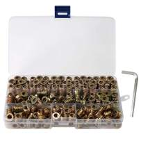 150-Piece Threaded Insert for Wood 1/4-20 x 10mm 15mm 20mm Screw in Wood Insert Threaded Nut Kit