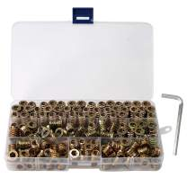 150-Piece Threaded Insert for Wood 1/4-20 x 10mm 15mm 20mm Screw in Wood Insert Threaded Nut Kit