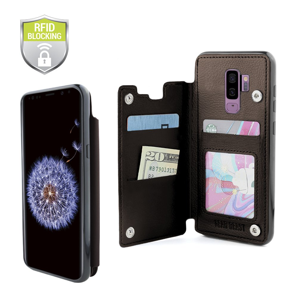 Gear Beast Lychee PU Leather Protective Top View Slim Wallet Case Fits Galaxy S9 Plus Includes Flip Folio Cover, with Three Card Slots Including Transparent ID Holder