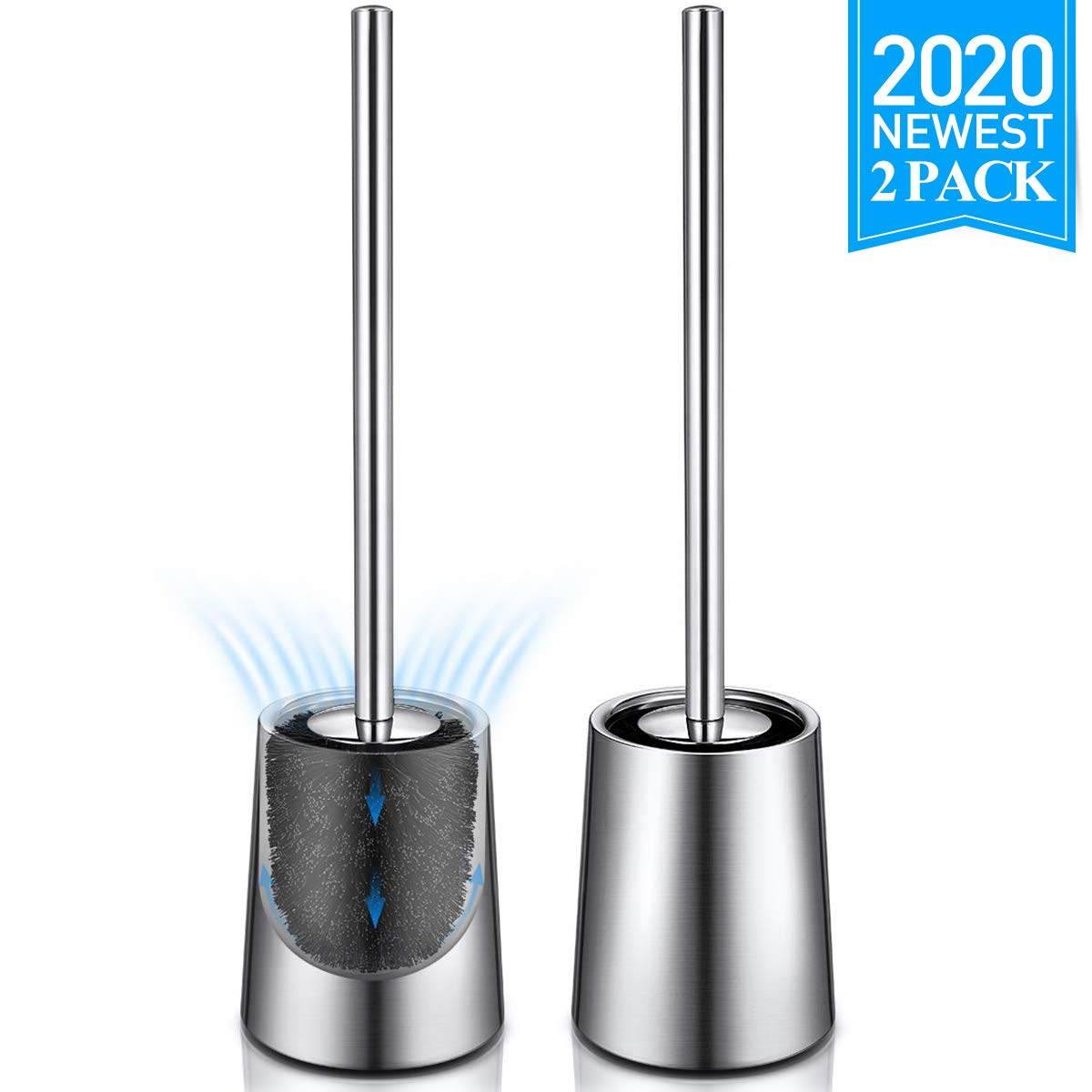 Homemaxs Toilet Brush and Holder, Upgraded 304 Stainless Steel Toilet Bowl Brush Rust-Resistant with Small Baffle More Ventilation,2 Pack Toilet Brush Clean Set with Long Handle(Brushed Surface)