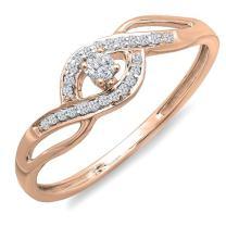 Dazzlingrock Collection 0.15 Carat (ctw) 10k Gold Round Cut Diamond Ladies Criss Cross Engagement Bridal Promise Ring