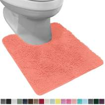Gorilla Grip Original Shaggy Chenille Oval U-Shape Contoured Mat for Base of Toilet, 22.5x19.5 Size, Machine Wash and Dry, Soft Plush Absorbent Contour Carpet Mats for Bathroom Toilets, Coral