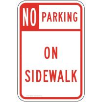 No Parking On Sidewalk Reflective Sign, 18x12 in. with Center Holes, 80 mil Aluminum for Parking Control by ComplianceSigns