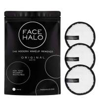 Face Halo   Reusable Makeup Remover Pads, Round Makeup Remover Pads for Heavy Makeup & Masks - Microfiber Makeup Remover Wipes for Mascara, Eye Shadow, Foundation (Original - 3 Pack)