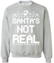 Awkwardstyles Santas Not Real Crewneck Ugly Christmas Sweater