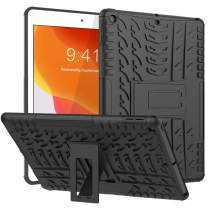 HBorna for iPad 7th Generation Case, iPad 10.2 Case 2019 - Kids Friendly Shockproof Rugged Drop Protection Cover Built with Kickstand for iPad 10.2 Inch - Black