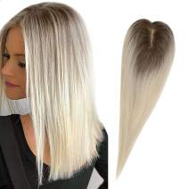 【Big Promotion】Full Shine Crown Topper Human Hair Ombre Color 10 Fading to 613 Blonde 10 inch Crown Top Hairpiece Base Size 12x6 CM Mono Hairpiece For Hair Loss Clip on Real Remy Hair Extensions