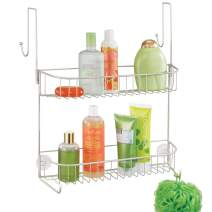 mDesign Extra Wide Metal Wire Over The Bathroom Shower Door Caddy, Hanging Storage Organizer with Built-in Hooks and Baskets on 2 Levels for Shampoo, Body Wash, Loofahs, Rust Resistant - Satin