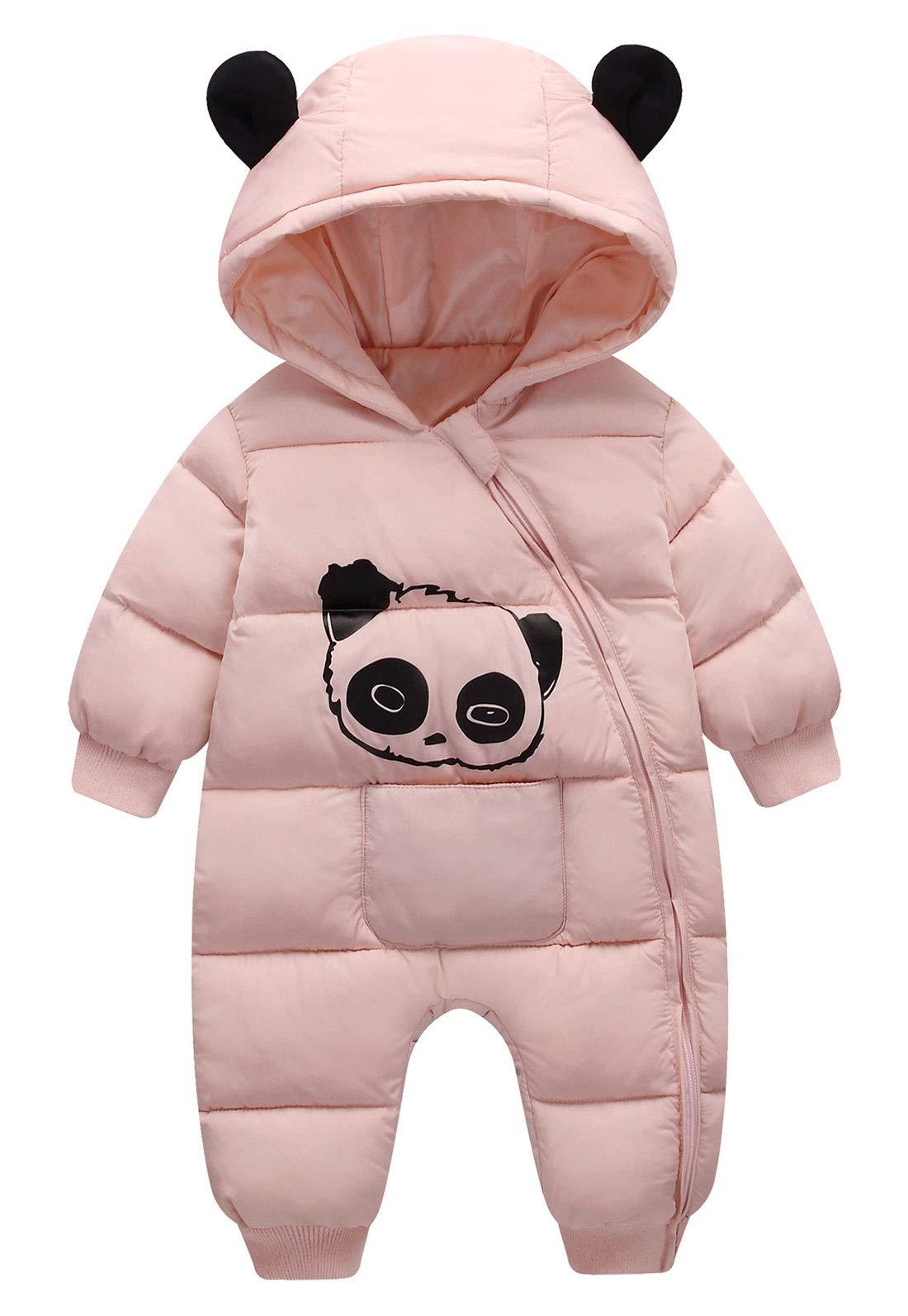 FEOYA Infant Baby Girls Boy Down Jacket Panda Hooded Winter Warm Coat Snowsuit Bunting Cotton Romper Jumpsuit