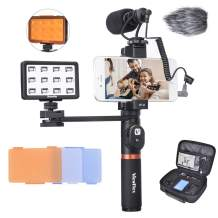 Viewflex Phone Video Kit VF-H6 Smartphone Video Rig with Recording Microphone and LED Light, Handheld Grip for iPhone 11 X max 7 8 Plus 6s Android Cellphone,Perfect Volgging Kit