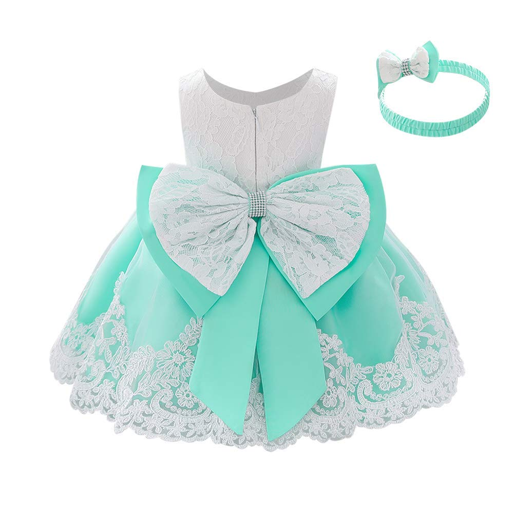 Baby Girls Christening Baptism Gowns + Headband Pageant Wedding Birthday Dress Lace Bowknot Formal Christmas Dresses