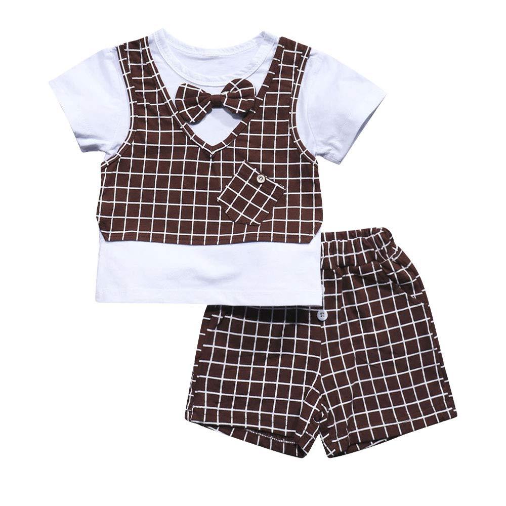 Newborn Infant Baby Boys Grid Short Sleeve Top + Short Pants+ Tie Gentleman Outfits Suits