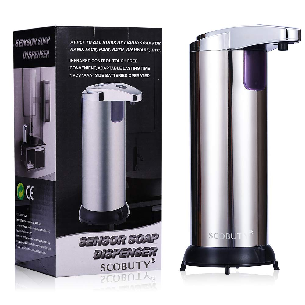 Automatic Soap Dispenser, Liquid Soap Dispenser, Hand Soap Dispenser Automatic,Touchless Automatic Soap Dispenser,with Stainless Steel,Adjustable Switches,Infrared Motion Sensor, Waterproof Base