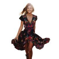 Hemlock Long Wrap Dress, Women Dress Floor Length Chiffon Dress V Neck Dress (M, Black-2)