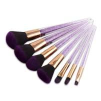 BBL 7Pcs Makeup Brush Set professional Foundation Blending Highlighting Powder Liquid Cream Tapered Concealer Contour Eye Shadow Blush kabuki Makeup Brushes Purple Crystal (Without Case)