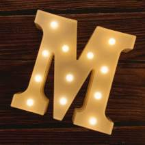 MUMUXI LED Marquee Letter Lights 26 Alphabet Light Up Marquee Number Letters Sign for Wedding Birthday Party Battery Powered Christmas Lamp Night Light Home Bar Decoration (M)