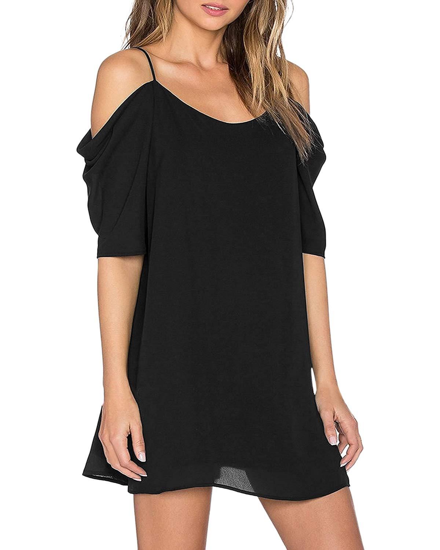 ZANZEA Womens Off The Shoulder Chiffon Dress Sexy Summer, 01 Black, Size X-Large