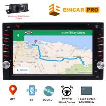 """Double Din 6.2"""" Touch Screen 2 Din Car Stereo in Dash Receiver DVD CD 1080P Video Player Bluetooth GPS Navigation FM/AM RDS Radio TF/USB/AUX-in/Subwoofer/SWC +Remote Control-Free Rear View Camera"""