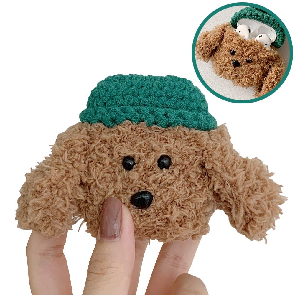 SGVAHY Fluffy Case Compatible with Airpods 1&2, Cute Teddy Soft Fur Furry Kawaii Fun Cool Mini Airpods Cover Case with Keychain Wireless Charging BoxAirpods 1 & 2 (Teddy Dark Green Hat)