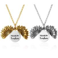 RINHOO You are My Sunshine Sunflower Engraved Locket Pendnat Necklace for Women Girls Jewelry