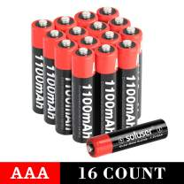 AAA Batteries Rechargeable, Soluser Rechargeable AAA Batteries 1100mAh AAA High-Capacity Batteries Rechargeable AAA Batteries 1.2V Ni-MH Low Self Discharge 16-Pack