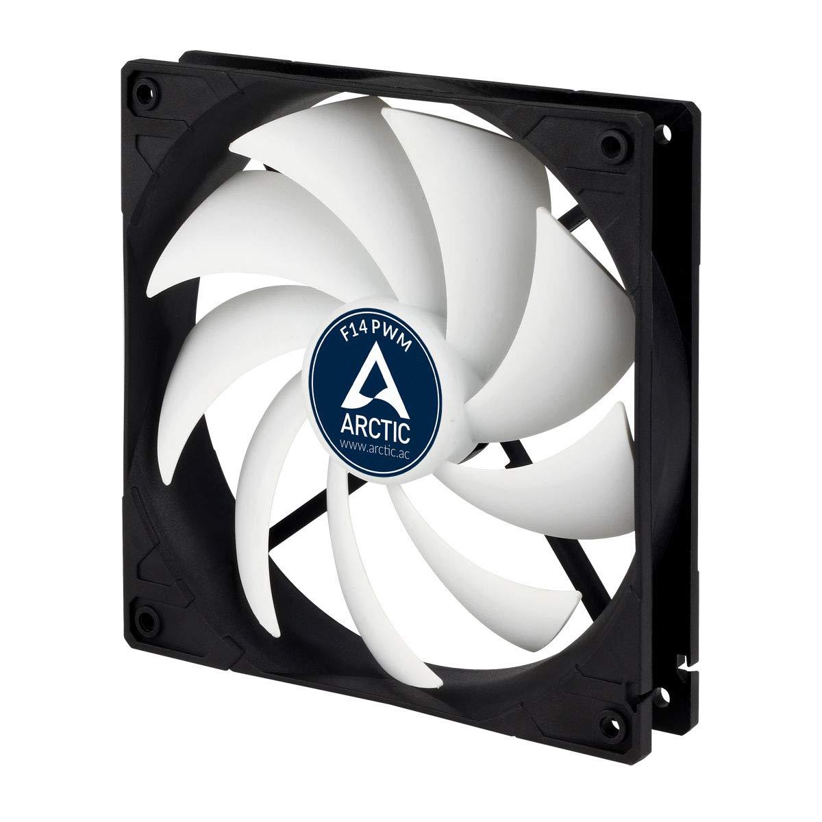 ARCTIC F14 PWM - 140 mm Case Fan, PWM-Signal regulates Fan Speed, Very Quiet Motor, Computer, Fan Speed: 200-1350 RPM - Black/White