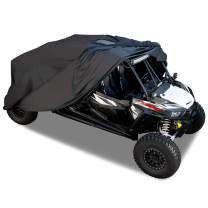 Hyperion UTV Cover with Solar Panel: Universal Waterproof Cover for 2 and 4 Seater UTVs - UTV Cover Protects Utility Task Vehicles from Weather Damage and Maintains Battery Charge - Black - HYP-UTV-U